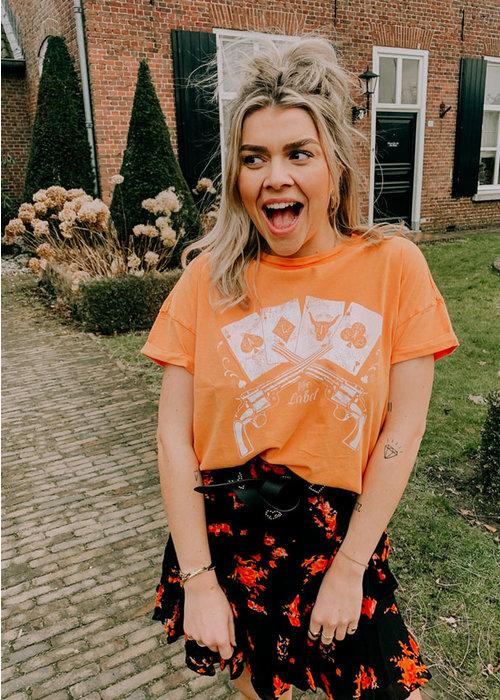 Alix Alix - ladies knitted vintage playing cards t-shirt Soft Orange