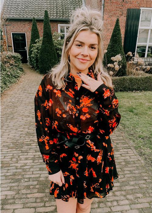 Alix Alix - ladies woven flowers chiffon blouse Black