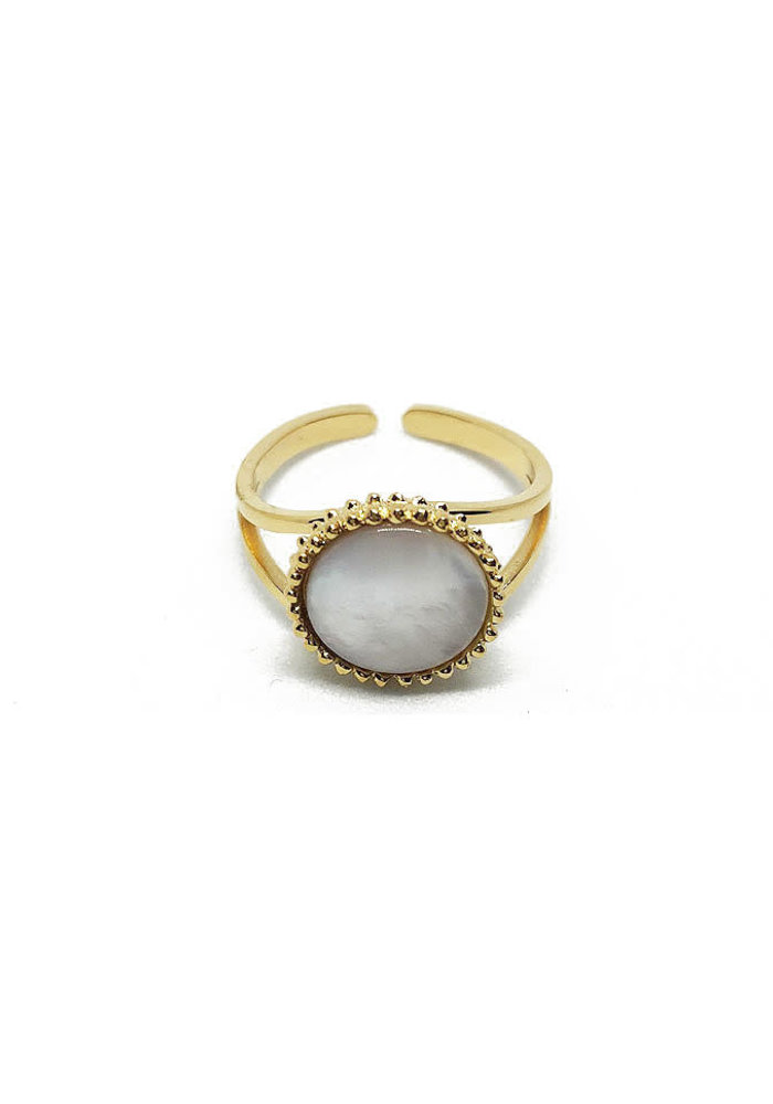 ZAG - Bague Ring - dore nacre perle gold shell pearl nacre
