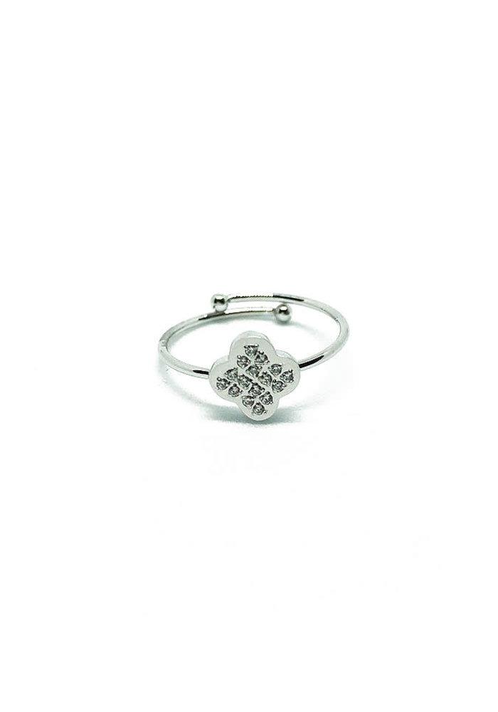 ZAG - Bague Ring acier or blanc zirconium sertis