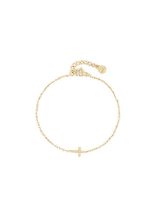 Armband - klein kruisje Goud