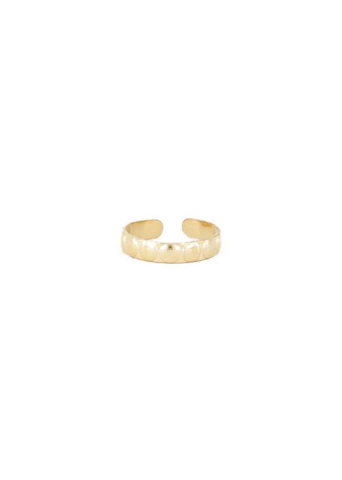 Ring brede bolletjes Goud