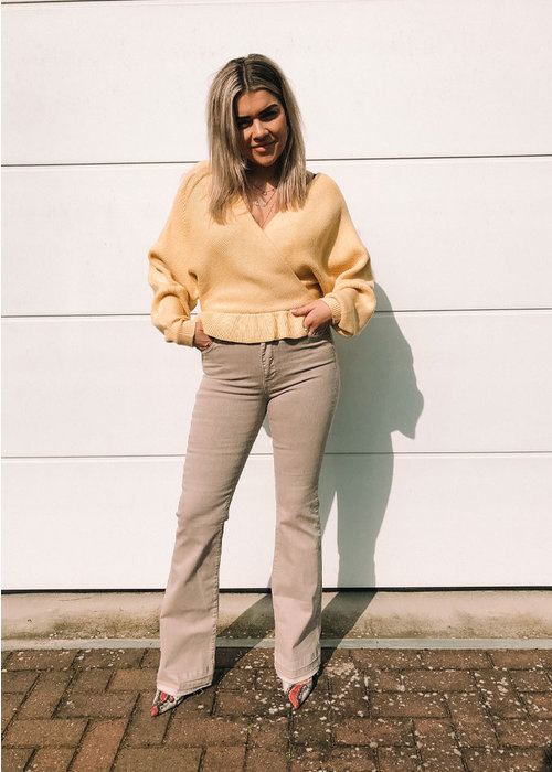 Flounce Knitted Sweater - Dusty Yellow