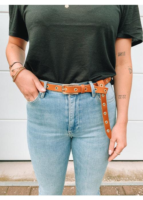 Belt hoops gold small -  cognac