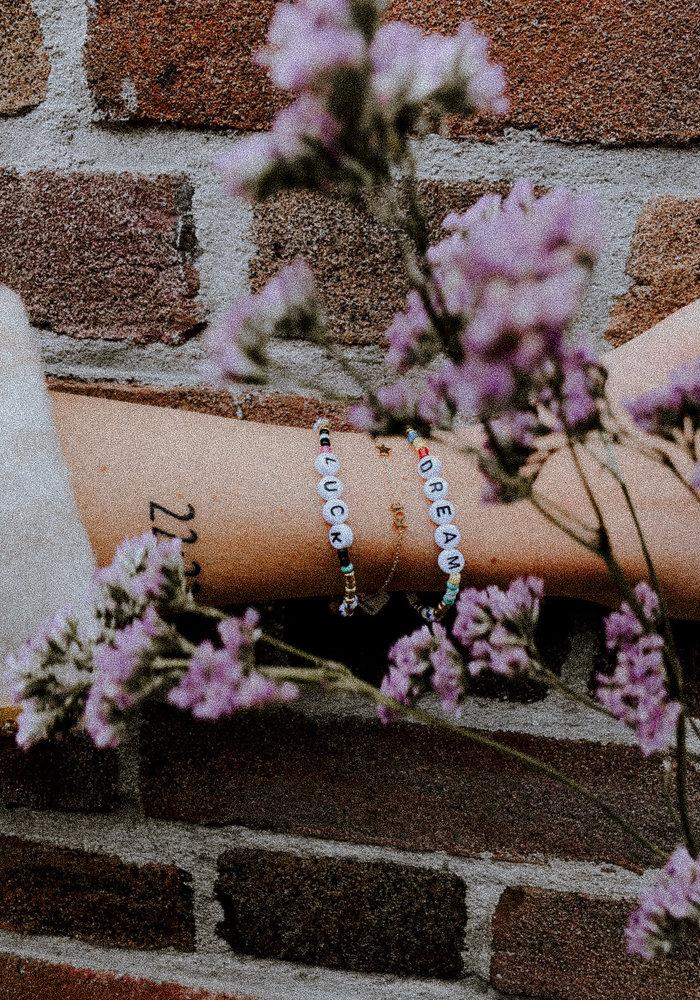 Armband kralen & luck Goud