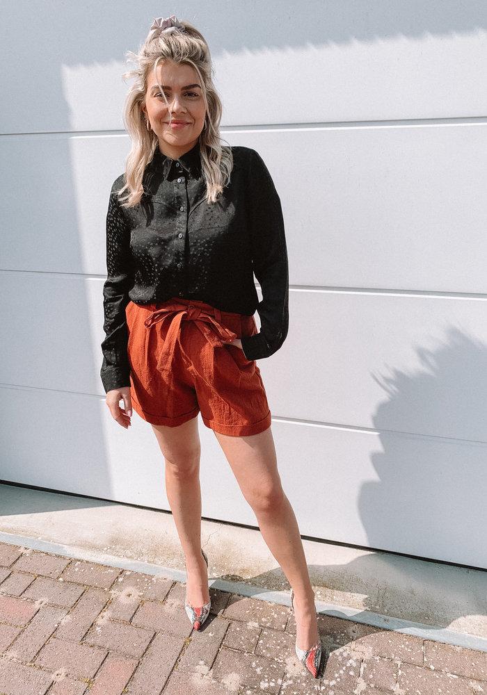 Alix - ladies woven star jacquard blouse Black