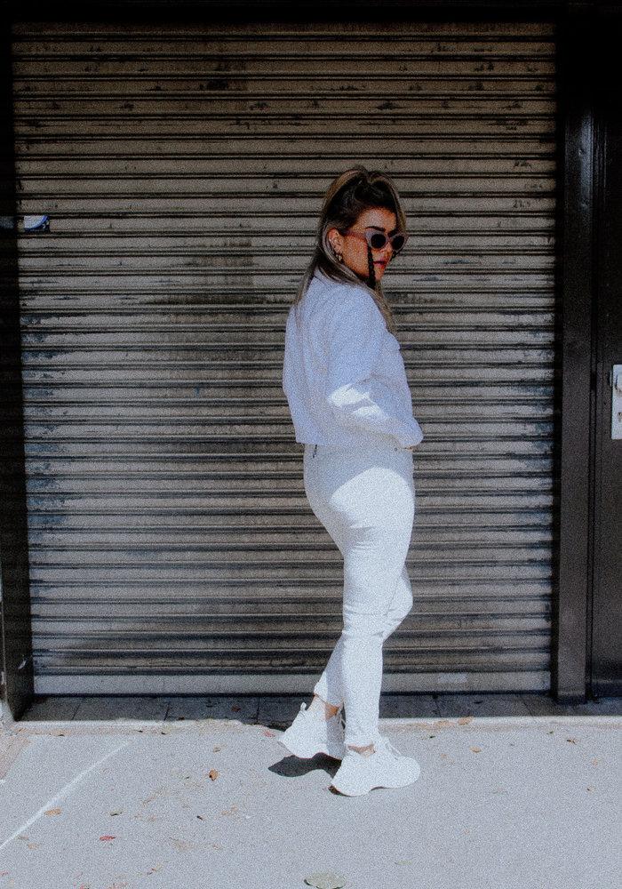 Homage - Jacquard Skinny Jeans Off White