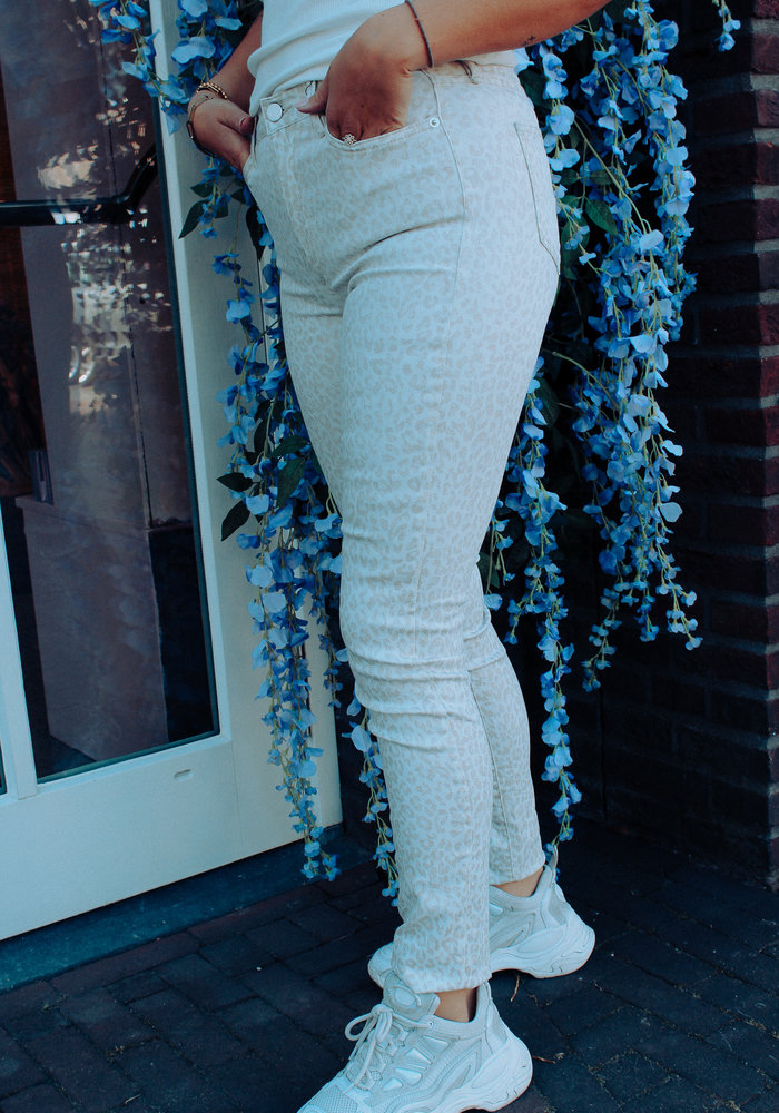 Homage - Leopard Skinny Jeans Off White Gold