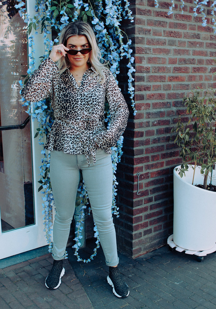 Belted Chiffon -  Blouse Leopard