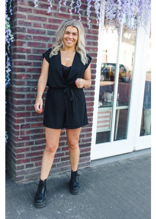 Katie Plisse Playsuit -  Black