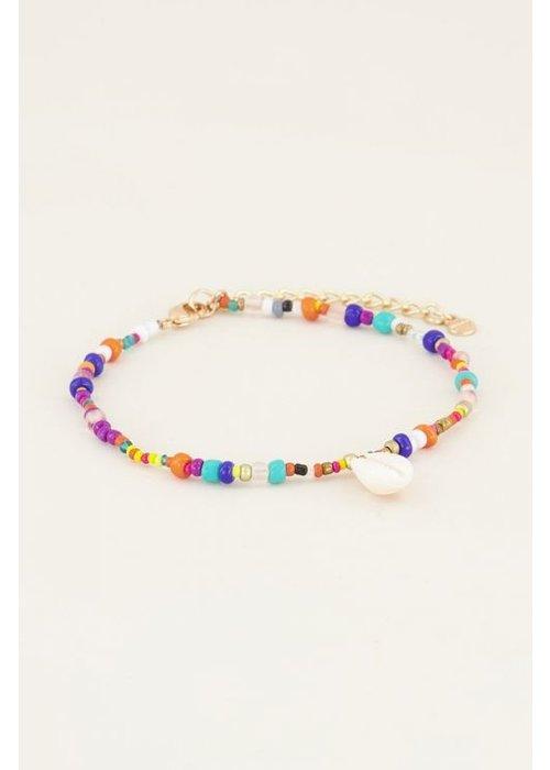 My Jewellery - enkelbandje kralen schelp wit