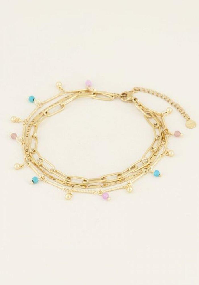 My Jewellery - Driedubbel enkelbandje kralen