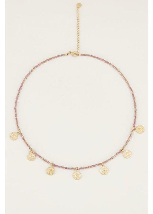 My Jewellery - Ketting multikleur kraaltjes en muntjes