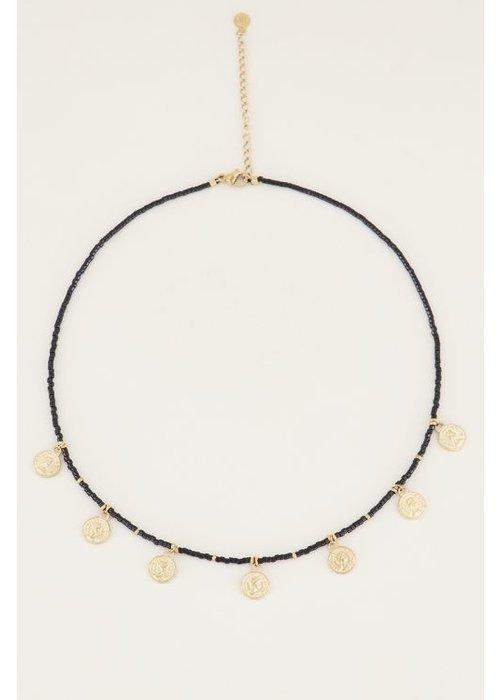 My Jewellery - Ketting zwarte kraaltjes en muntjes