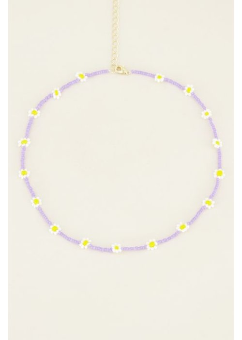My Jewellery - Choker madeliefjes paars