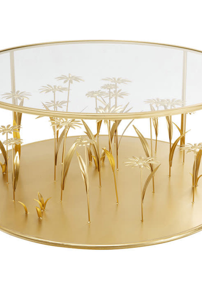 Kare Design - Coffee Table Flower Meadow Gold Ø80cm