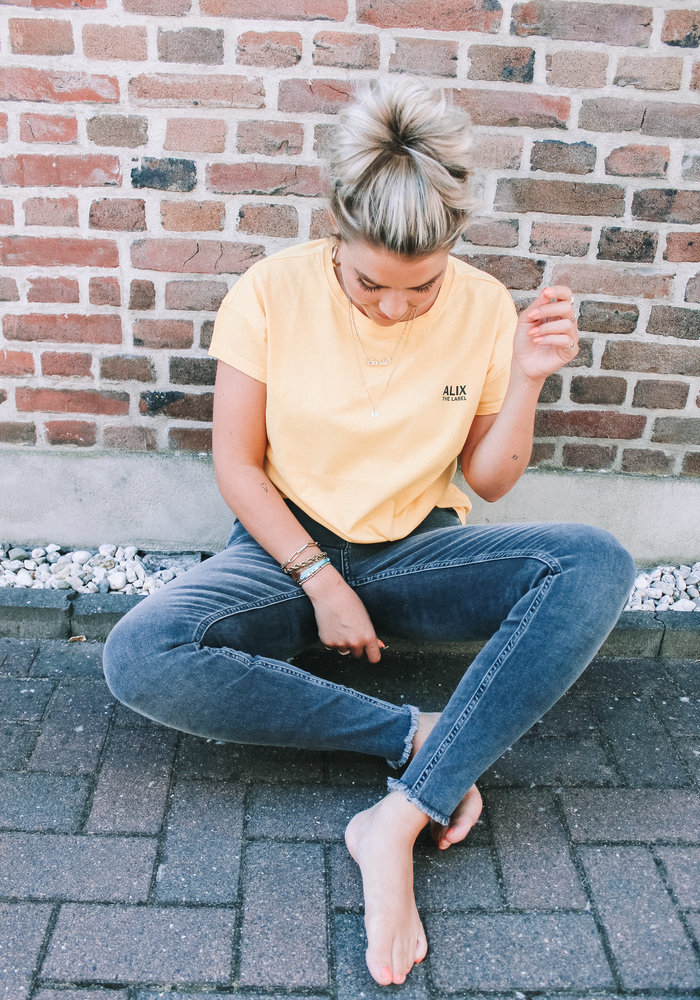 Alix - Ladies Knitted On Tour T-shirt Honey Yellow