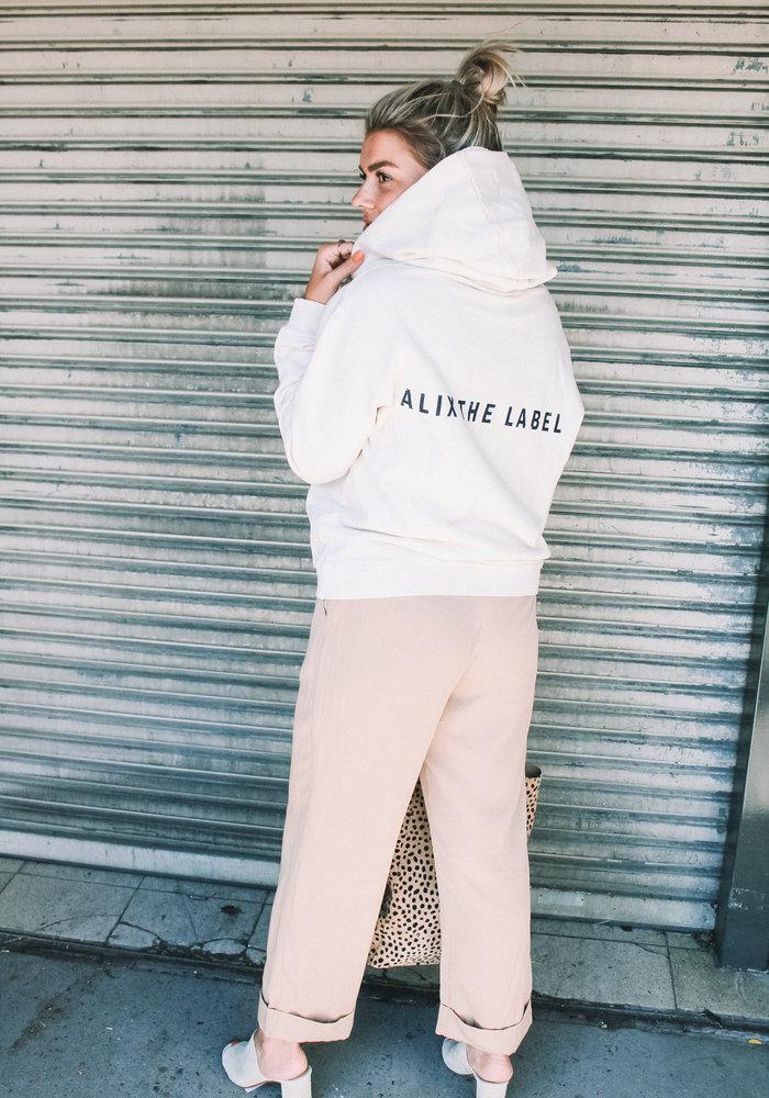 Alix - Ladies Knitted Oversized Hoodie Powder White