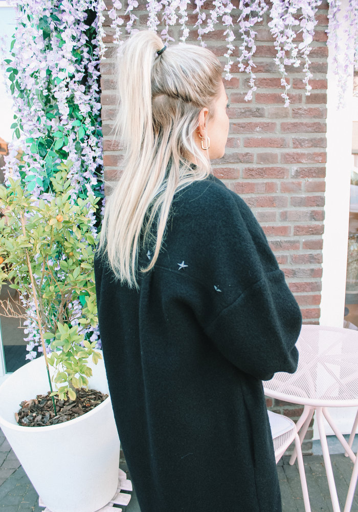 Alix - Ladies Woven Embroidered Wool Jacket Black