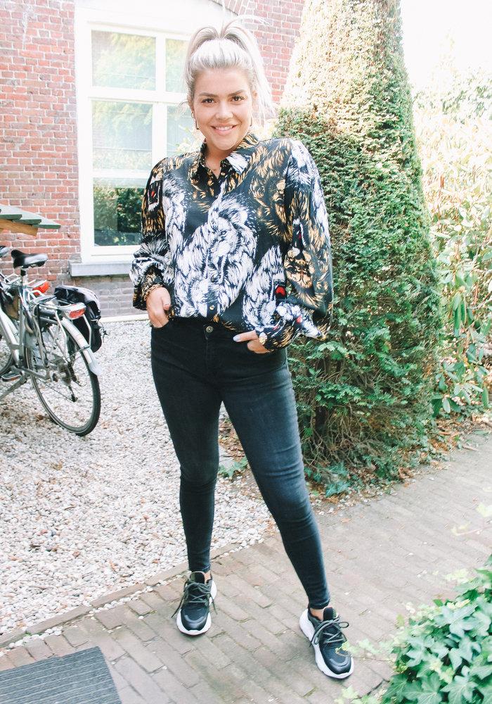 Alix - Ladies Woven Lion Blouse Black