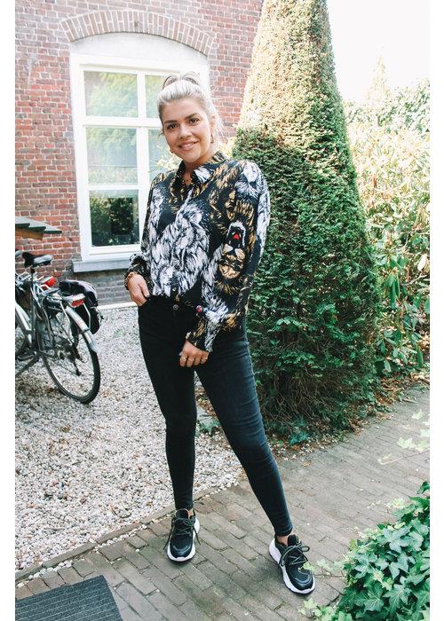 Alix Alix - Ladies Woven Lion Blouse Black