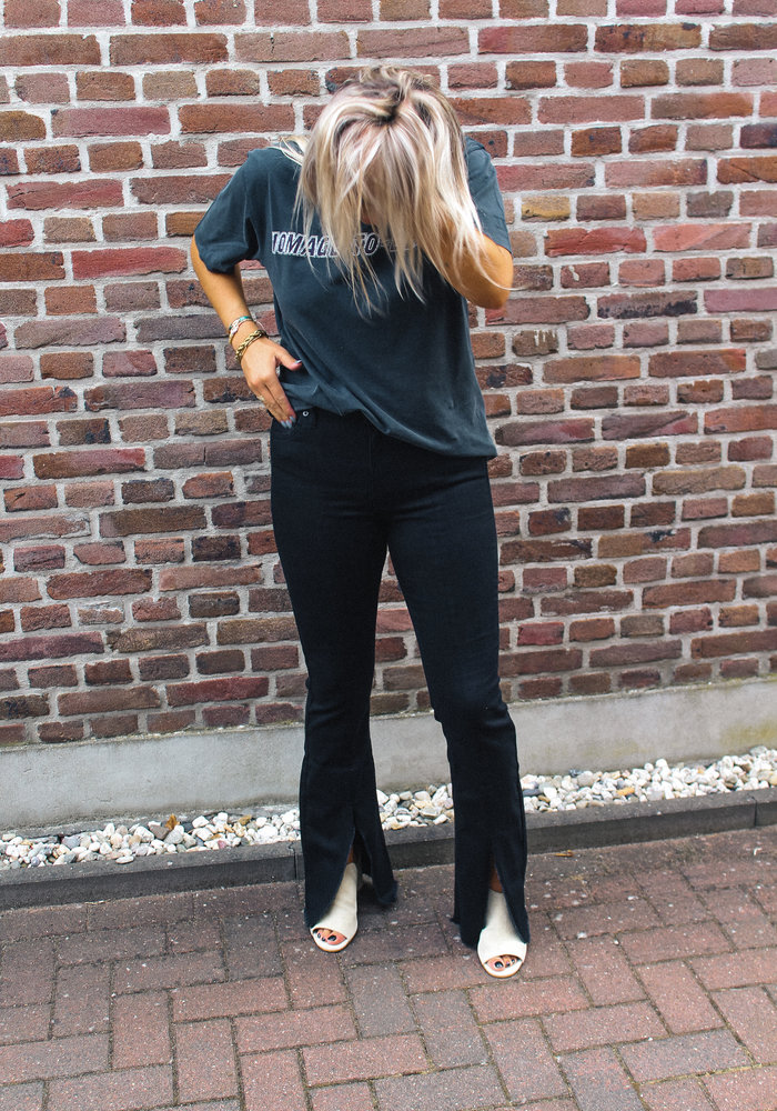 Homage - Flared Jeans With Frayed Slits Blac
