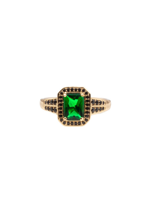 ALL THE LUCK IN THE WORLD Alltheluck - RING RECTANGLE GREEN BLACK GOLD