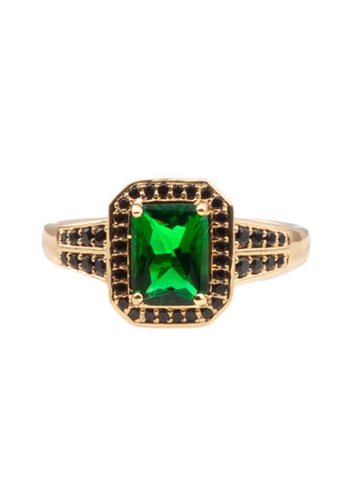 Alltheluck - RING RECTANGLE GREEN BLACK GOLD