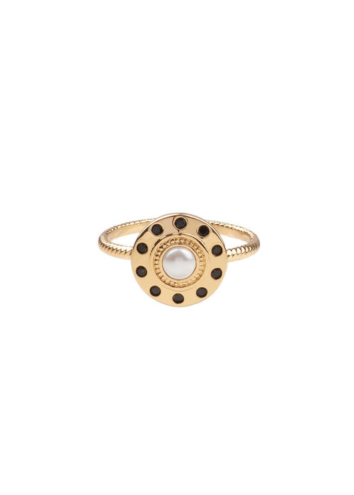 ALL THE LUCK IN THE WORLD Alltheluck - RING CIRCLE PEARL BLACK GOLD