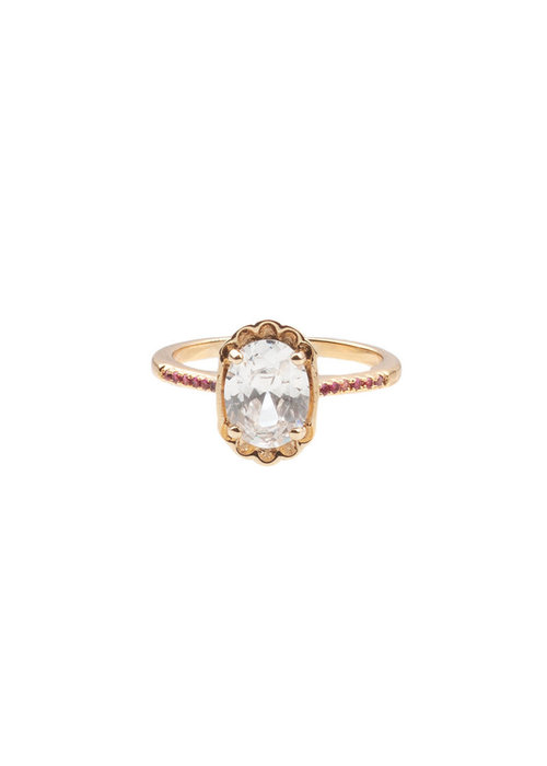 ALL THE LUCK IN THE WORLD Alltheluck - RING OVAL CLEAR PINK GOLD