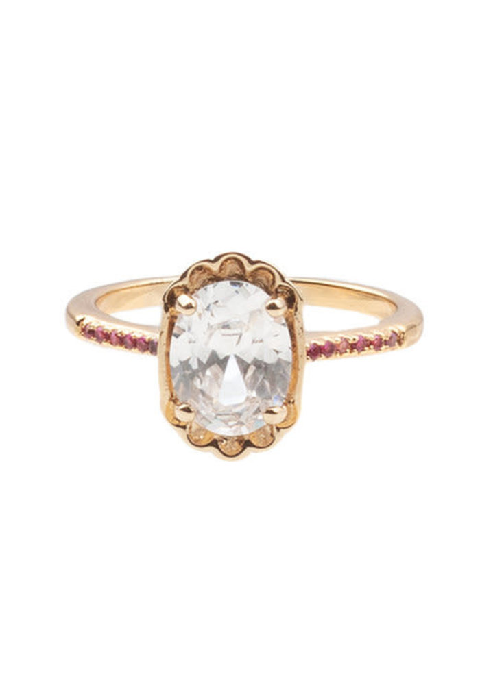 Alltheluck - RING OVAL CLEAR PINK GOLD