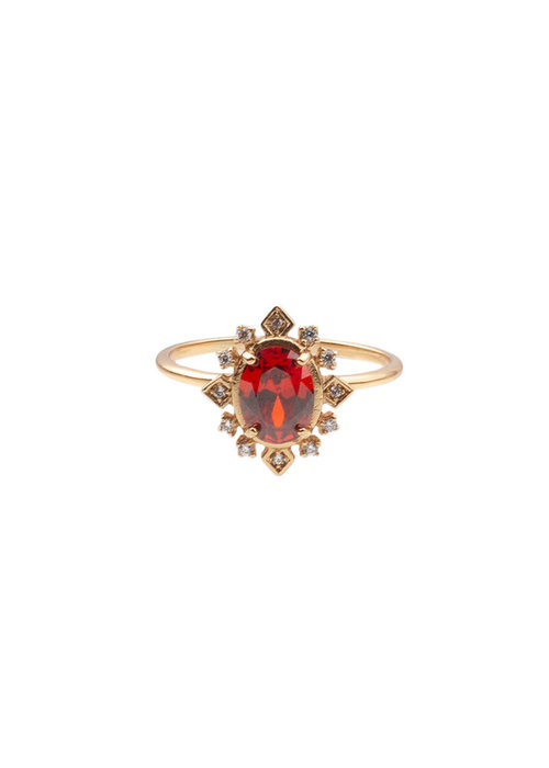 ALL THE LUCK IN THE WORLD Alltheluck - RING OVAL RED CLEAR GOLD
