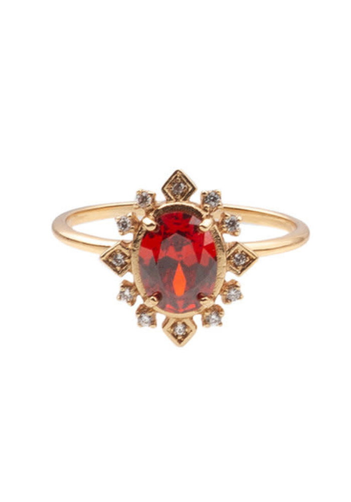 Alltheluck - RING OVAL RED CLEAR GOLD