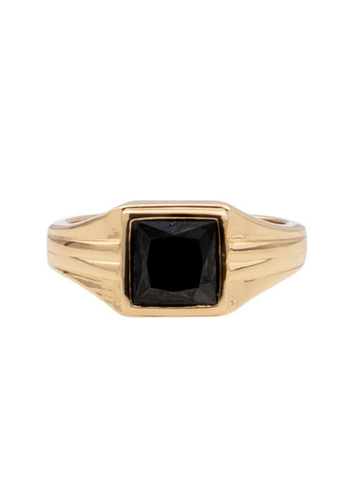 Alltheluck - RING SQUARE BLACK GOLD