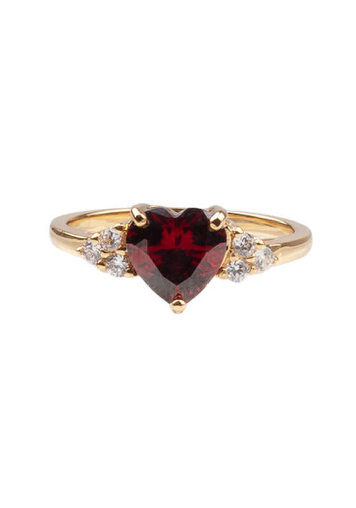 Alltheluck - RING HEART DARK RED CLEAR GOLD