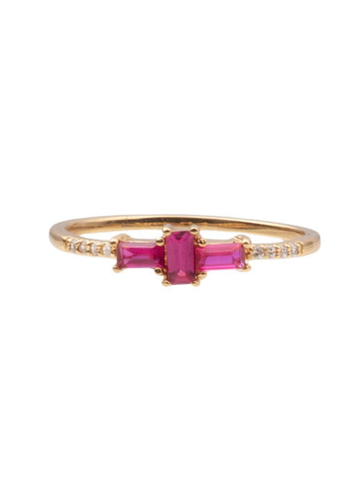 Alltheluck - RING CROSS PINK CLEAR GOLD