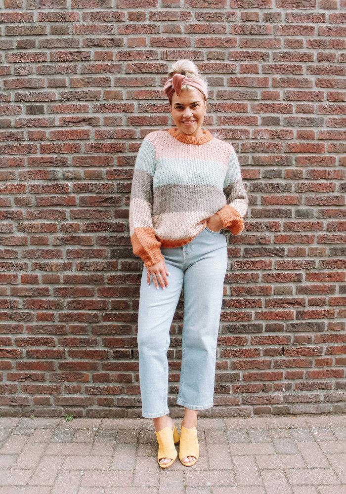Pieces - Siri  O-Neck Knit Sunburn Stripes