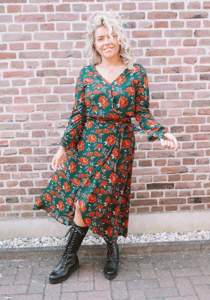 TILTIL- Mandy Wrap Skirt Petrol Flowers