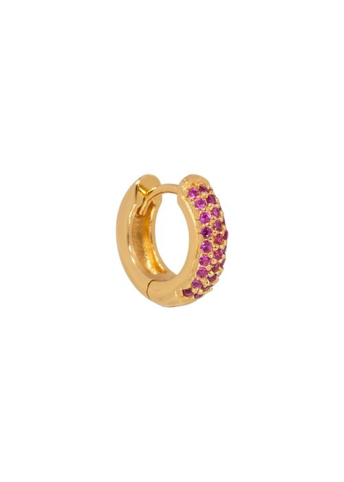 Eline Rosina Eline Rosina - Single ruby huggie hoop in gold plated sterling silver