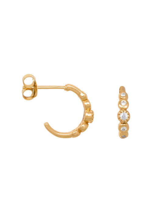 Eline Rosina Eline Rosina - Five stoned white zirconia hoops in gold plated sterling silver