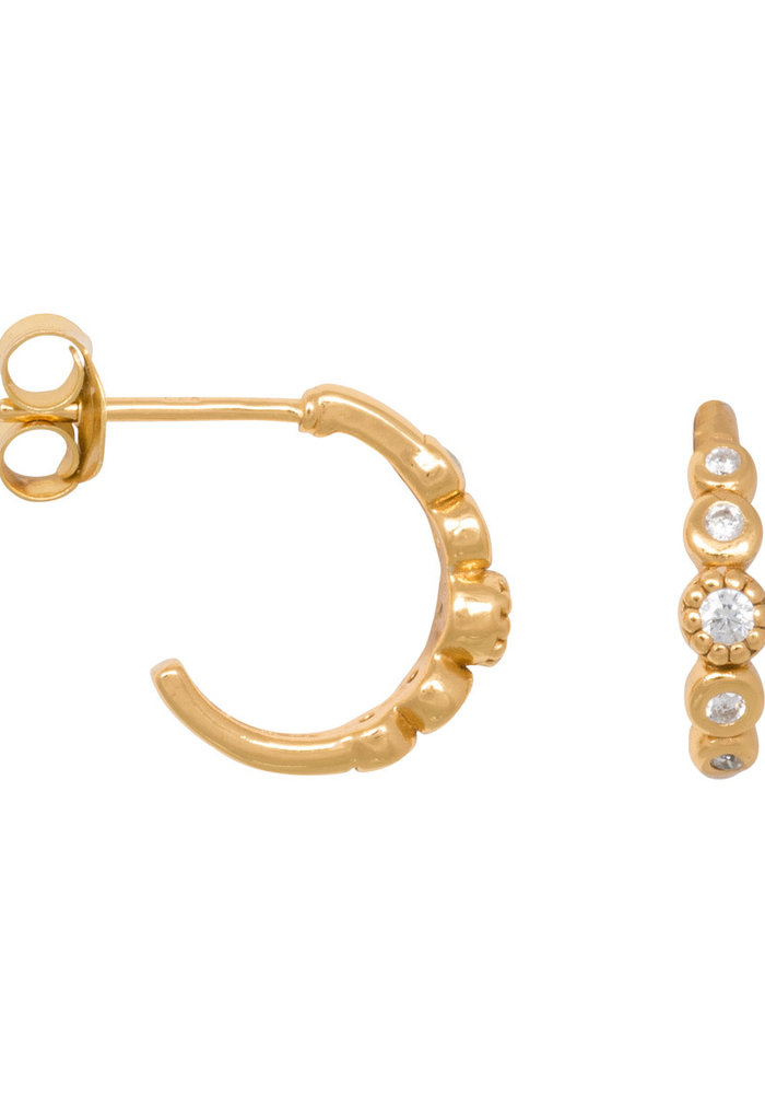 Eline Rosina - Five stoned white zirconia hoops in gold plated sterling silver