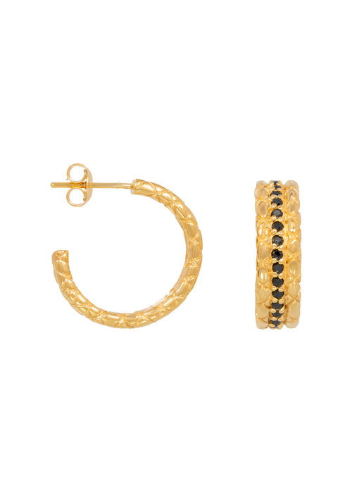 Eline Rosina Eline Rosina - Statement black snake hoops in gold plated sterling silver