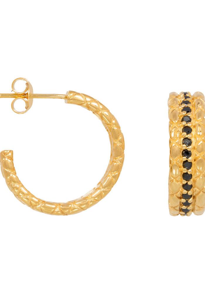 Eline Rosina - Statement black snake hoops in gold plated sterling silver (per paar)