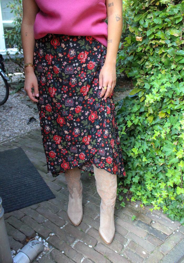 TilTil - Mandy Wrap Skirt - Black Flowers