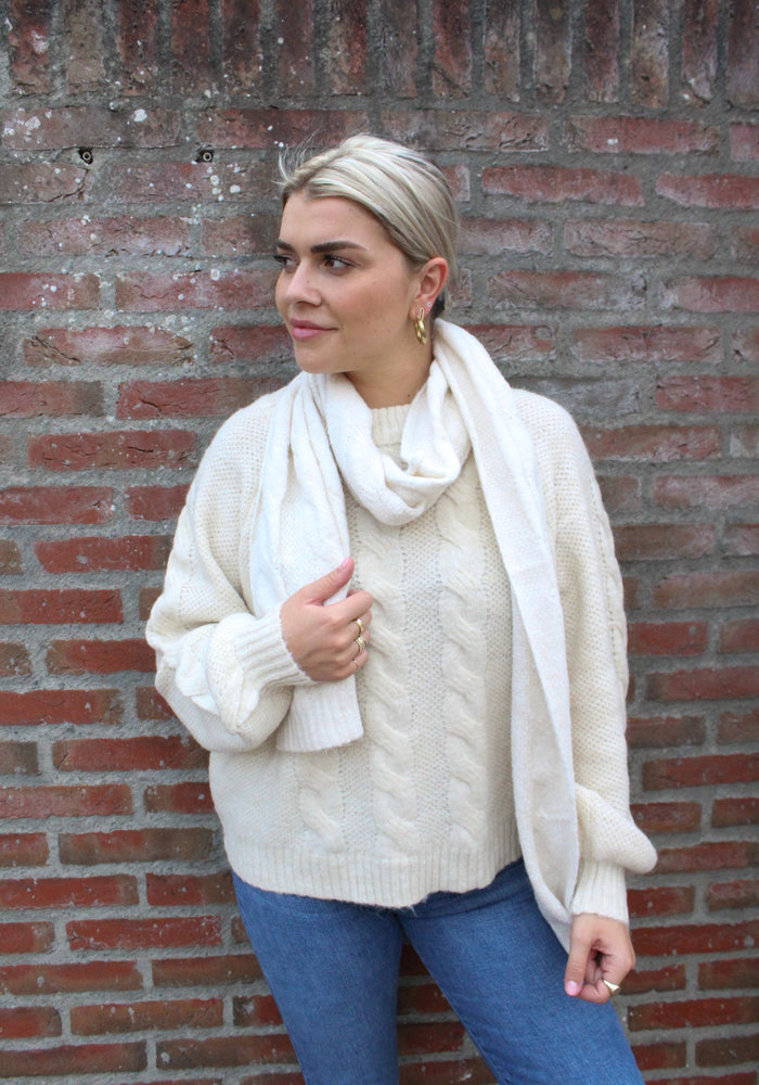 Pieces - Shelby Long Scarf Whitecap Grey