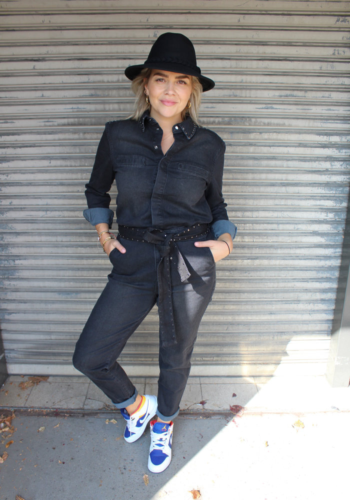 Homage - Denim Overall With Studs Cosmos Black