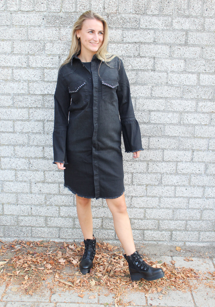 Homage - Studded Denim Coat With Trumpet Sleeves Cosmos Black