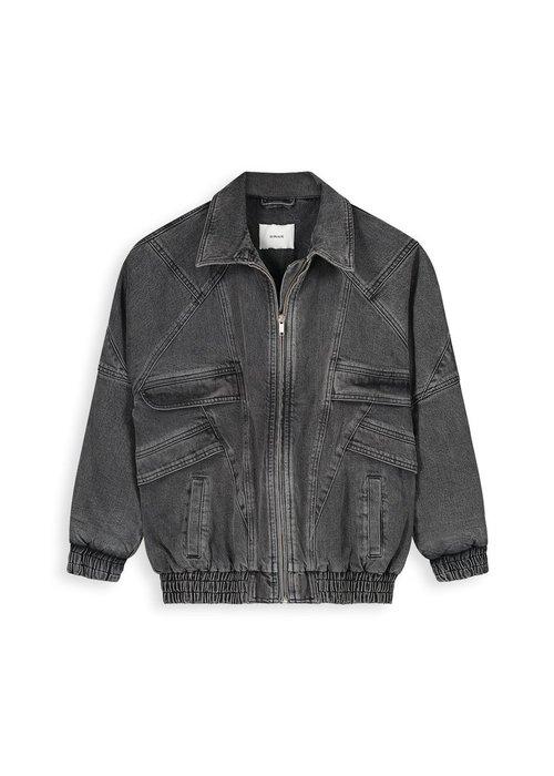Homage Homage - Retro Inspired Padded Denim Jacket Random Dark Grey