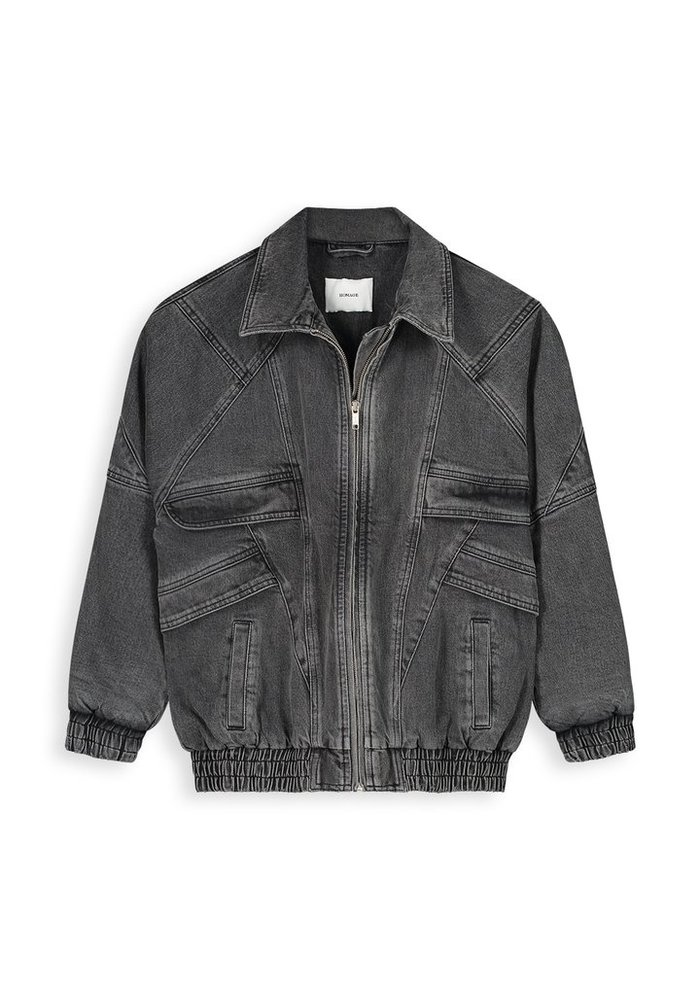 Homage - Retro Inspired Padded Denim Jacket Random Dark Grey