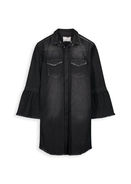 Homage Homage - Studded Denim Coat With Trumpet Sleeves Cosmos Black